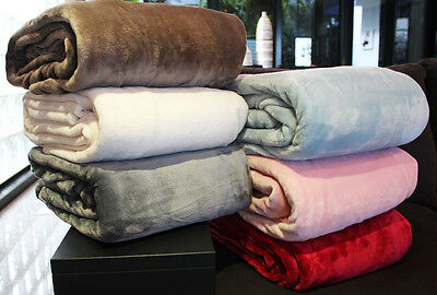 NEW Coral Fleece Blanket QUEEN KING Size 300GSM 200x240cm 6 Colours WARM SOFT