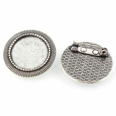 10pcs Vintage Alloy Brooch Cabochon Bezel Settings Silver Blank Glass Bead Trays