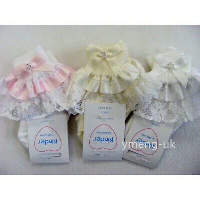 Stunning Kinder Baby Girl Frilly Socks with Diamante Bow Super Frilly Laces