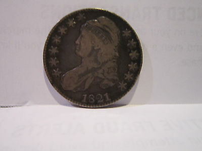 1821 Capped Bust Half Dollar Solid, VF, Great Toning Scarce