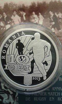 ROMANIA 10 LEI 2013 silver coin ROMANIAN proof SPORT first official RUGBY match
