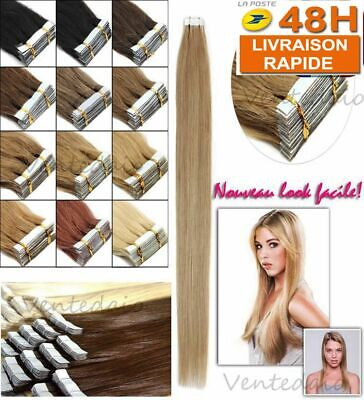 10/20/30/40 Extensions De Cheveux Tape In Bande Adhesive Naturels Remy 53-60Cm