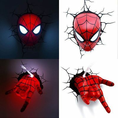 Top Marvel Avengers Spider Man Mask Head + Hand 3D Deco Wandlampe Nachtleuchte