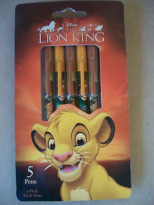 Disney Lion King Set Of 5 Stick Pens By Tri-Coastal Design, NYC, NEW IN PACKAGE