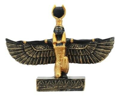 "Ancient Egyptian Decor Goddess Isis Open Wings Miniature 3.5""L Figurine Statue"