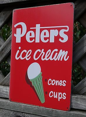 New Peters Ice Cream Metal Vintage Rustic Style Tin Sign Kitchen Shop Milk Bar