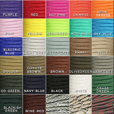 550 Paracord Parachute Cord Lanyard Mil Spec Type III 7 Strand Core 100 FT/50FT