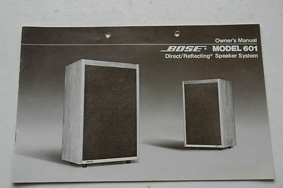 Owners Manual  für  Bose 601 Direct/Reflecting Speaker System Lautsprecher