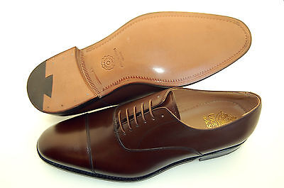 MAN - 43½-9½eu-OXFORD CAPTOE-BROWN CALF-VITELLO MARRONE-LEATHER SOLE-F.DO CUOIO