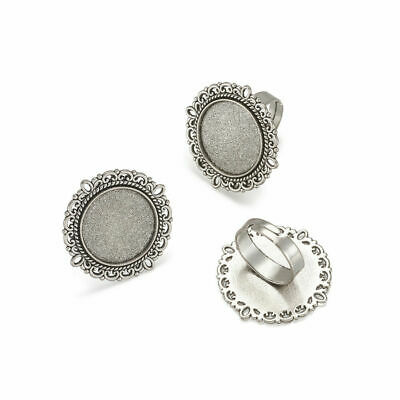 10pc Jewelry Adjustable Bead Finger Ring Components Alloy Cabochon Bezel Setting