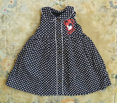 Baby clothes GIRL 6-9m Minnie Mouse George black/white cotton dress sleeveless