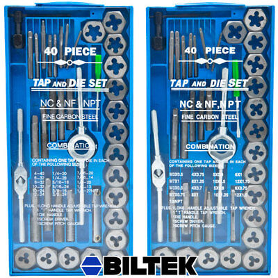 80pc Professional SAE & Metric Tap and Die Set T-Handle Wrench Screw Pitch Gauge