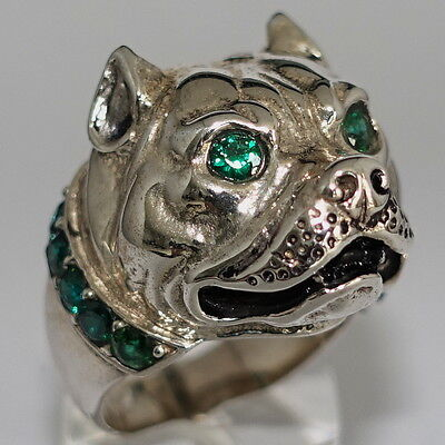 Sterling Silver Men's Ring Pit Bull Terrier With Emerald Green Cz Collar Size 9