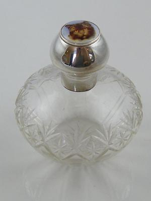 Cut Glass & Enamel Scent Bottle 1923 Hm Silver Embossed Lid