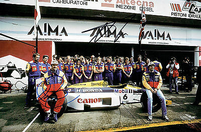 Nigel MANSELL & Nelson PIQUET Autograph SIGNED 12x8 HONDA Canon Photo AFTAL COA