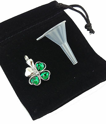 Cremation Jewellery Memorial Ash Urn Pendant Keepsake Four Leaf Clover Shamrock