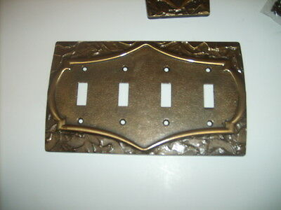 Pair of 2 Vintage Bronze TONE METAL switch plates 4 and 1
