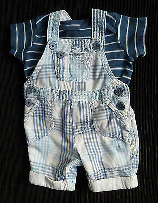 Baby clothes BOY 0-3m NEXT blue/white dungarees/Mothercare stripe blue t-shirt