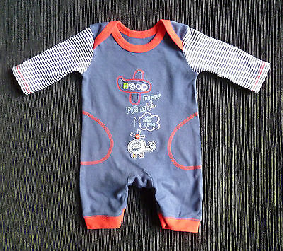 Baby clothes BOY newborn 0-1m George aeroplane/helicopter navy/red babygrow