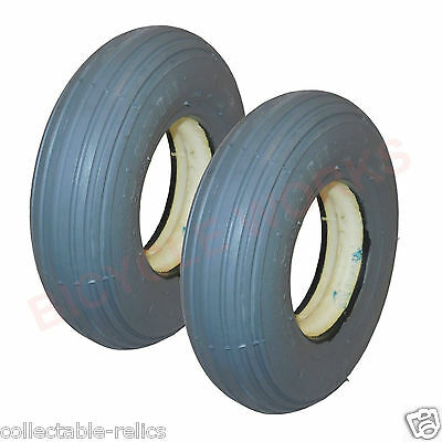 2X Tyres 200X50 Grey Wheelchair Trolley Mobility Scooter 200 x 50 Foam Solid 4PR