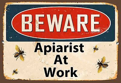 Beware Apiarist At Work,bees,honey,a5 Size,vintage Style, Enamel Metal Sign,494