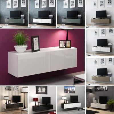 tv rack fernsehschrank lowboard hochglanz wei mit led rgb 130 eur 113 00 picclick it. Black Bedroom Furniture Sets. Home Design Ideas