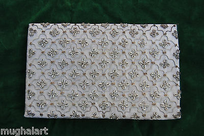 Antique OTTOMAN Turkish Bag ,Wallet , purse , Clutch  Silver Embroidery Islamic