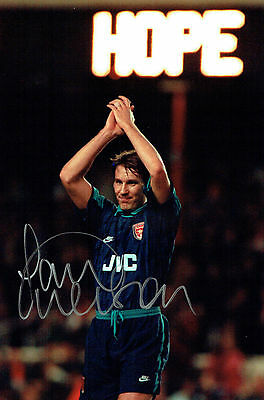 Paul MERSON SIGNED Autograph 12x8 RARE Photo Arsenal v AC Milan AFTAL COA