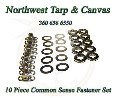 Common Sense Fasteners,  Marine Canvas Eyelet & Stud, Turn Button, 10 Piece
