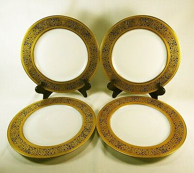 4 Vintage Crown Imperial Gold Encrusted Scrolls Greek Key Pattern Chargers Cim57