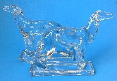 2 Martinsville Glass Dog Bookends Borzoi Russian Wolfhound Paperweight Art Deco