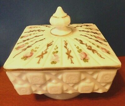 Vintage Westmoreland Old Quilt Milk Glass Candy Dish w/Lid Hand Painted Roses