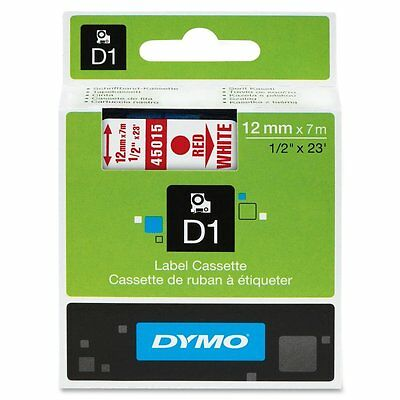 DYMO 45015 Self-Adhesive D1 Polyester Tape for Label Maker 1/2-inch Red on White