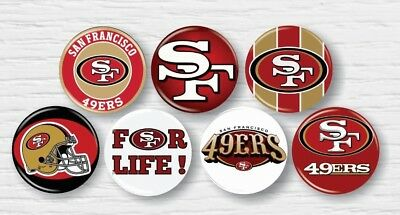 "San Francisco 49ers NFL Pin Button 1.25"" Novelty Apparel Hat Accessories 7pc"