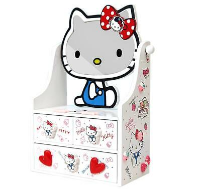 New Cute Hello Kitty Wooden Jewelry Box Cosmetic Case Storage Box c/w Mirror