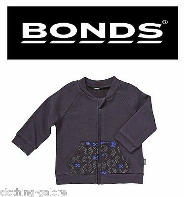 New Boys Baby Girl Kids Bonds Navy Blue Terry Zip Jacket Top Size 000 00 0 1