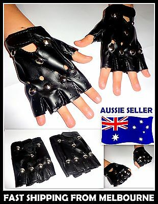 Leather Fingerless Punk Gloves with Studs Party Costume Fancy Dress AUSSIE