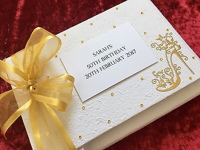 Personalised Birthday Guest Book Album Gold Shoe 18th 21st 30th 40th 50th 60th