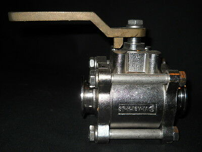 "PBM 1-1/2"" Sanitary Adjust-O-Seal 2-Way SS Ball Valve, SP-16-3CB, SP-H-16V-1A"