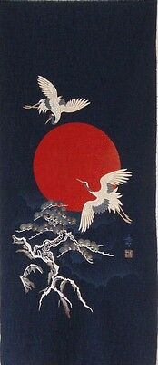 Japanese Cotton Quilt Panel [ Cranes At Sunset ]