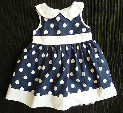 Baby clothes GIRL 6-9m Bambini dark blue/white spot dress 2nd item post-free!