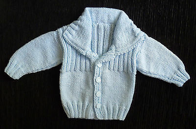 Baby clothes BOY 0-3m beautiful blue collar cardigan handmade SEE MY SHOP!