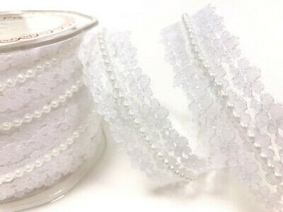 White Pearl & Lace Beaded Trimming. Vintage Style Wedding Bridal Ribbon - 1M