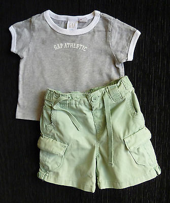 Baby clothes BOY 3-6m Gap t-shirt//Monsoon green shorts outfit 2nd item postfree