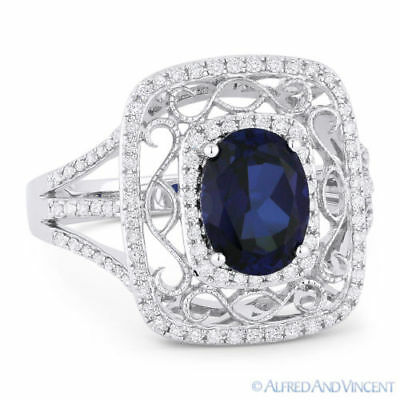 2.13ct Oval Cut Lab-Made Sapphire & Diamond Antique-Style Ring in 14k White Gold