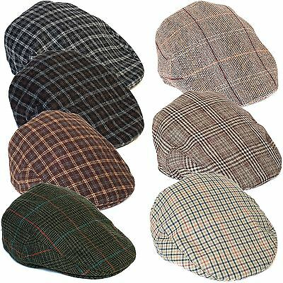 Country Style Wool Blend Tartan Ivy Flat Cap with Overcheck Pattern