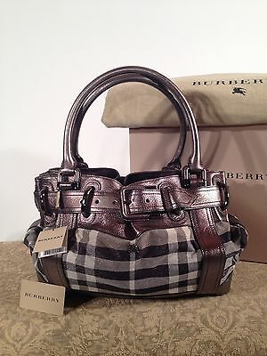 Burberry Authentic Limited Edition Shimmer Metallic and Pewter Check Handbag fbd06b10bc798