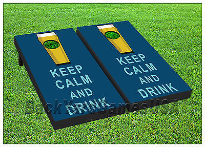 VINYL WRAPS Cornhole Boards DECAL Keep Calm and Drink Bag Toss Game Stickers 438