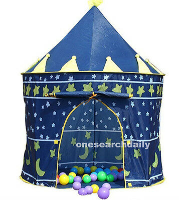 NEW Portable Blue Baby Boys Folding Tent Play House Castle Tent for kids Outdoor