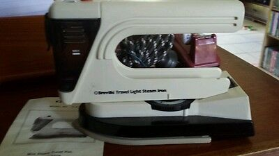 Vintage Breville Travel Light Steam Iron with Instruction Manual Dual Voltage